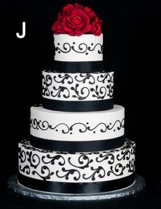 Black and red wedding theme cake Wedding Cake Red, Wedding Day, Bling Wedding, Gothic Wedding, Here Comes The Bride, Wedding Themes, Christmas Wedding, Beautiful Cakes, Cake Designs