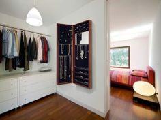 Jewelry Armoire Mirror Wall Mount Door Hanging Vanity Cabinet Organizer Cherry