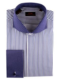 Steven Land Dress Shirts   DS1224 | Blue $59 #StevenLand #Blues 100% Cotton Shirt | Stripe with cut-away Pin Dot Collar | Pin Dot French Cuff | Covered Placket