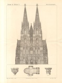 1890 Western Facade of the Cologne Cathedral, Hohe Domkirche St Peter und Maria Original Antique Engraving