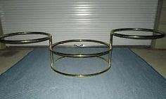 Vintage 3 Tier Swivel Brass and Glass Coffee Table MCM Hollywood Regency | eBay