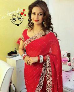 Divyanka in red saree Saree Designs Party Wear, Party Wear Sarees, Saree Blouse Designs, Dress Indian Style, Indian Dresses, Saris, Sarees For Girls, Stylish Sarees, Saree Models