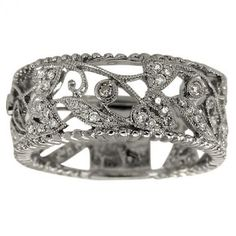 Antique Wide 18K White Gold Filigree Diamond Wedding Band to use with engagement ring