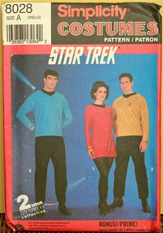 Star Trek Costume Simplicity Pattern 8028  Uncut  Sizes  XXS to LG  Chest 28 to 44
