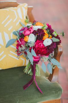 bouquet in deep pinks, photo by Marvelous Things Photography, flowers by Janie Medley Flora Design http://ruffledblog.com/west-side-story-inspiration-shoot #flowers #weddingbouquet