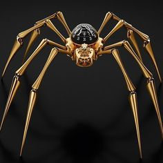 MB&F Arachnophobia Table Clock Is Giant Time-Telling Spider On Your Desk Or Wall - This one in Gold.