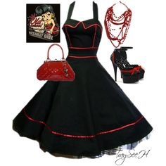 Black 50s dress with red piping.  Rockabilly style.  Matching heels, red handbag & necklace.  By tracy-hardwick on Polyvore
