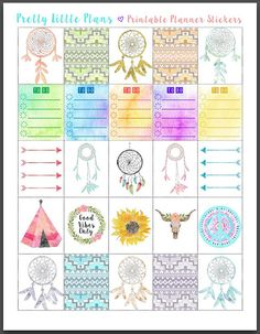 PRINTABLE Erin Condren Planner Stickers Boho Bohemian Good Vibes Dreamcatcher…