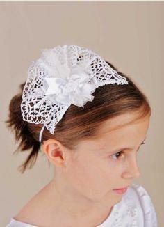 Cross Fascinator Headband | Headbands for First Communion, Baptism, Flower Girls