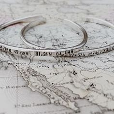 Every memory has a latitude and longitude. We are so thrilled to launch our new Gypsy Bangles! Coordinates for places your heart has traveled or lived. Shop on our site, heidijhale.com #heidijhale #allhaleheidi