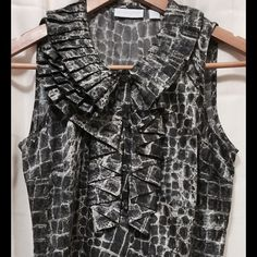 Jones New York & Co. Blouse XS GATOR Print so cute Alligator or Croc pattern in shades of grey, interesting ruffle line.  Excellent used condition. Jones New York Tops Blouses