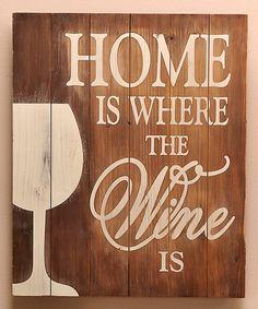 Wood 'Wine' Wall Plaque