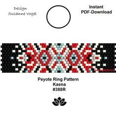 DETAILS: Kaena #388R Peyote ring pattern - The ring-length is adjustable. Size: 1,75 cm x 6,9 cm / 0.69 x 2.72 - odd count Beads: Miyuki Delica 11/0 >>>>>>>>>>>>> Coupons-codes: <<<<<<<<<<< 10% discount code: 10PERCENTOFF (Minimum Purchase: € 15,00) 15% discount code: 15PERCENTOFF (Minimum Purchase: € 20,00) 20% discount code: 20PERCENTOFF (Minimum Purchase: € 25,00) 25% discount code: 25PERCENTOFF (Minimum ...