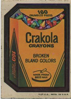 Wacky Packs Crakola Crayons. 160 crumbled pieces.