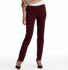 Marisa Dot Print Straight Leg Pants in Stretch Twill, $70. They're maroon with coral dots! So perfect. And fit great.