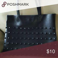 Shoulder Bag Faux black leather shoulder bag with one large zippered pocket Bags Shoulder Bags