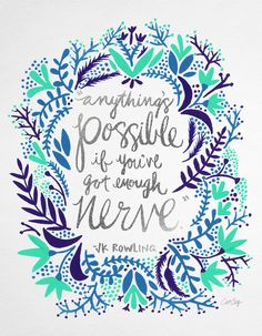 Anything's Possible – Silver & Blue Art Print