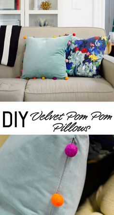 Easy Sew Velvet Pom Pom Pillow. Perfect way to add color to a basic pillow!