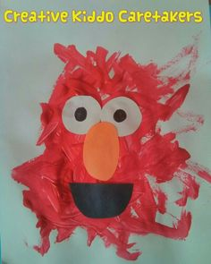 Elmo faces tearing cutting gluing art activity sesame for Elmo arts and crafts