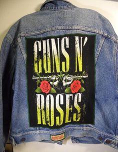 BAREFOOT VINTAGE ORIGINAL GUNS N ROSES LEES JEAN JACKET LARGE #611 #Levis #JEAN
