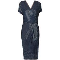 Rental Jason Wu Faux Shirt Dress (5.374.005 IDR) ❤ liked on Polyvore featuring dresses, blue, shift dress, vneck dress, blue beaded dress, blue v neck dress and v neck shift dress