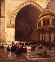 The Hour of Prayer (Interior of the Mosque of Sultan Beni Hassan, Cairo) by Joseph Farquharson 1888
