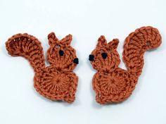 Crochet appliques 2 large rust applique squirrels