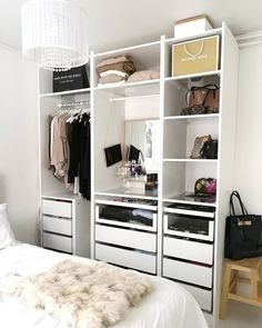 The post appeared first on Kleiderschrank ideen. Dressing Ikea, Dressing Room Closet, Ikea Pax Closet, Ikea Pax Wardrobe, Boys Bedroom Storage, Closet Bedroom, Ikea I, Boho Bedroom Decor, Small Closets