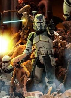Jedi General Plo Koon and Clone Commander Wolffe are engaged by CIS Droid Forces.