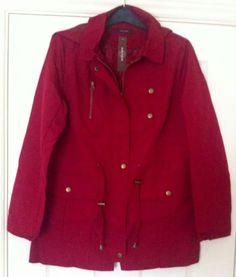 New - Womens Savoir Waterproof Red Hooded Zip Through Mac Coat Size 8 - RRP £55