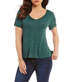 Copper Key ShortSleeve LatticeBack SpaceDyed Knit Top #Dillards