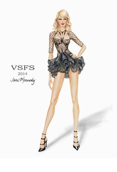 "Victoria's Secret Fashion Show 2014 ""Angel Ball"" section. Worn by Adriana Lima. Illustration by Jane Kennedy www.janelkennedy.com"