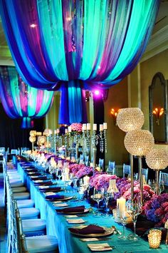 gorgeous deep purple green and blue coloured decorations <3