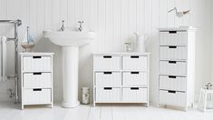 Brighton white bathroom cabinet furniture with drawers. Coastal style furniture and home decor accessories for your home Bathroom Cabinet With Drawers, Bathroom Standing Cabinet, White Bathroom Cabinets, White Bathroom Furniture, Cabinet Furniture, Furniture Ideas, Turquoise Laundry Rooms, Modern Powder Rooms, Diy Flooring