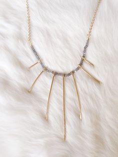Labradorite and Brass Spike Necklace - Statement Piece - Statement Necklace - Crystal Necklace - Brass Design Necklace - Labradorite Jewelry