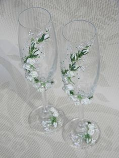 Wedding glasses White Roses Wedding decor by DecorEvgenia on Etsy