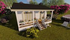 House Plans Build A TINY HOUSE on CD One Bedroom Home Cottage Small Tiny Living Blueprints plans to build a small Approx. 400 square foot tiny house This cozy country home style tiny house measures just 16 ft. x 26 ft. not including the front porch. Building A Tiny House, Tiny House Plans, House Floor Plans, Small Sitting Areas, One Bedroom House, Style Français, Window In Shower, Cottage Plan, Cottage Homes