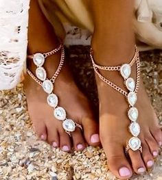 "Boho, Gypsy and Crystal Beach Foot Jewelry | Barefoot Sandals at Body Kandy Couture. Enchanting Boho Beach Foot Jewelry. The Calliope Barefoot Sandals are Beaded with Sparkling Crystals Draped with Gold Ankle Chains that can be Adjusted for the Perfect Fit. These Barefoot Wedding Sandals will add Elegant and look Magnificent for a Weddings on the Beach and you will look like a true Goddess. Barefoot sandals are an ancient traditional, known as ""Payal"" worn by Indian Brides on their Wedding…"