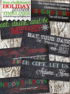 Free Chalkboard Holiday Facebook Timelines | Decorate your profile for the season!