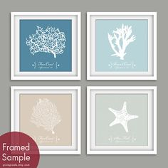 Underwater Sea Coral Collection  (Series A) Set of 4- 12x12 Art Print (Featured in Blue Linen, Glacier Blue, French Grey and and Fog Grey)