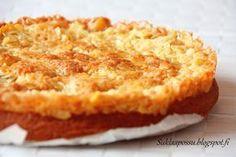 Siken Ruokaa Rakkaudella-ohjelmassa oli herkullisen näköinen toscakakku. Pitihän sitä päästä testaamaan. Ja voin rehellisesti sanoa tämän olleen paras toscakakku, jota olen maistanut! Sisältä ihanan mehevä ja pinnaltaan rapea! Siken paras toscakakku 22 cm vuokaan Taikina: 2 munaa 1 1/2 dl erikoishienoa sokeria 50 g voita sulatettuna 2 dl vehnäjauhoja 2 tl leivinjauhetta 1 dl maitoa Tosca: 150 …