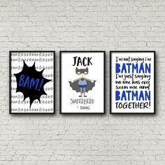 Nursery or Bedroom Prints, Kids Wall Art Decor, Personalised Name Print, Batman, Boys Bedroom Prints, Superhero Prints, Set of 3- A4 A3 by TheKidsPrintStore on Etsy