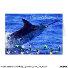 Marlin Seas and Greetings Holiday Card