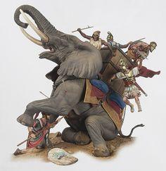 z- Killiing Carthaginian War Elephant- Zama, 202 BC (Andrea Miniatures) Carthage, Roman History, Art History, Ancient Rome, Ancient History, Hannibal Barca, War Elephant, Punic Wars, Elephant Design