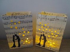20 Bride and Groom Luminaries, Wedding Luminaries, Music Decor, Luminary Bags, Wedding Decorations, Engagement Party, Shower Decor