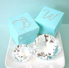 Mini Cube Boxes Candy Treat Favors - Blue (set of 12)