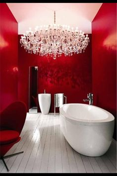 Decadent bathroom...love this! I'm digging this red bathroom!!! :)