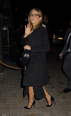 Hey there: The actress gave photographers a little wave as she arrived earlier on in the evening