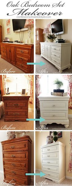 Oak bedroom set painted in DIY chalk paint. Love the difference adding feet makes!                                                                                                                                                                                 More