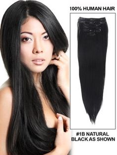 luxury Human Hair Extensions 50 Inch 7pcs 100g Silky Straight Clip In Natural Black Online